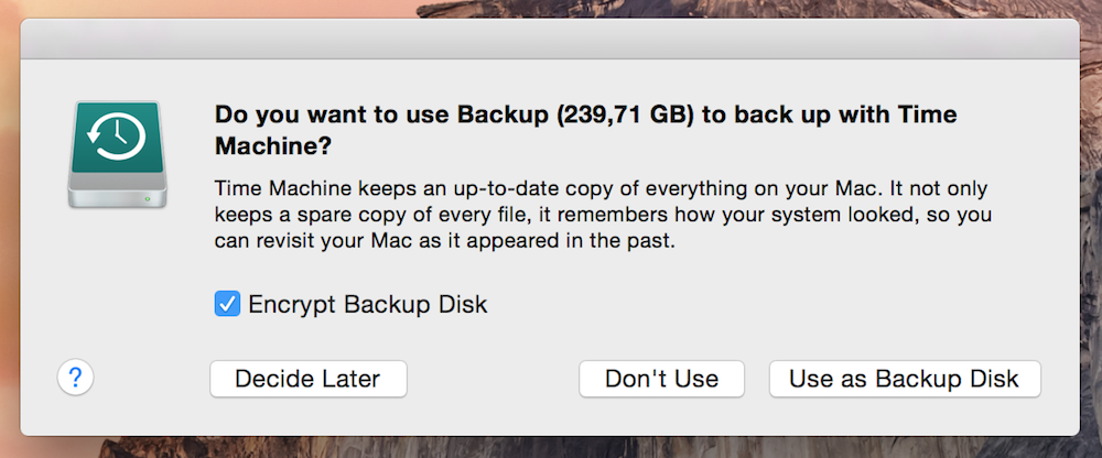 Datensicherung unter Mac OS X Timer Machine
