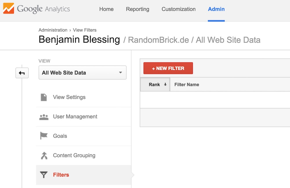 Google Analytics Filter für Referral Spam Seiten (Bild: Screenshot Google Analytics).