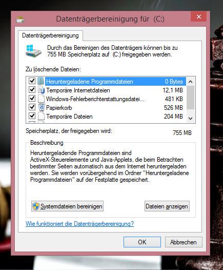 Mehr Festplattenplatz unter Windows 8