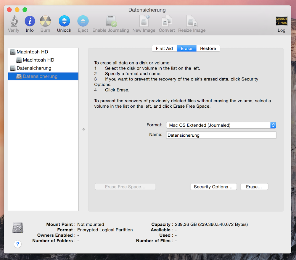 Festplatte Mac OS X formatieren