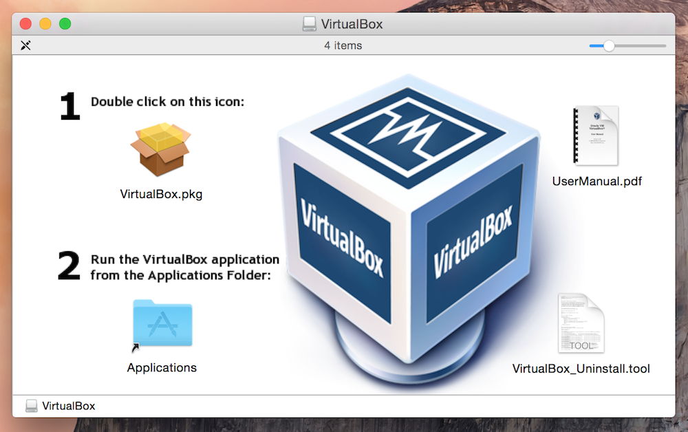 Installation von VirtualBox unter OS X Yosemite (Bild: Screenshot).