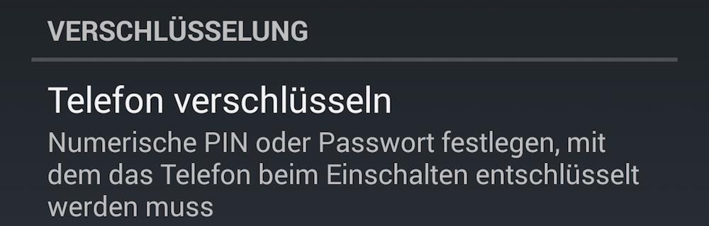 Wird das Android Gerät mit PIN oder Passwort verschlüsselt, besteht ohne PIN / Passwort kein Zugriff auf die Daten (Bild: Screenshot Android).