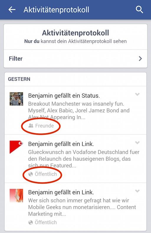 Regelmäßiges Prüfen der Facebook-Aktivitäten empfiehlt sich (Bild: Facebook App Screenshot).