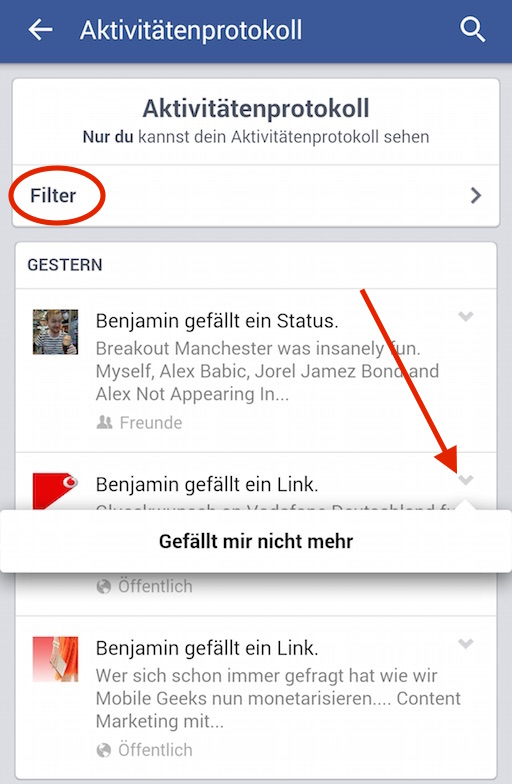 Ungewünschte Einträge können entfernt werden (Bild: Facebook App Screenshot).