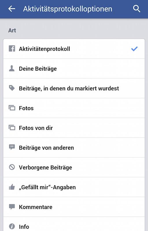 Filter erlauben gezieltes Durchsuchen nach verschiedenen Aktivitäten (Bild: Facebook App Screenshot).