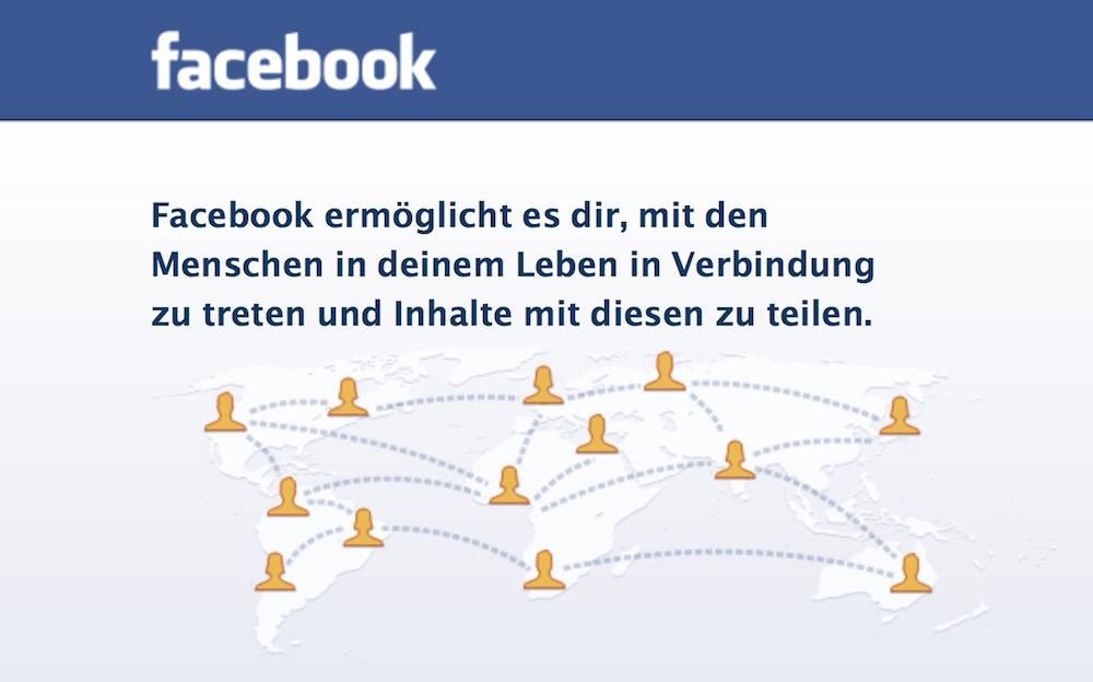 Facebook Login-Seite