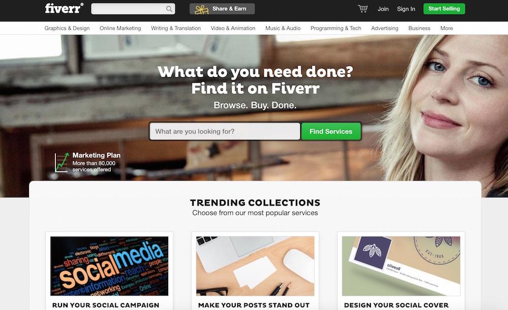 Fiverr - Der Marktplatz für kreative Dienstleistungen (Bild: Screenshot Webseite).