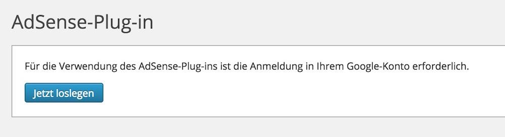 Google AdSense Plugin für WordPress lässt sich nicht einrichten (Bild: Screenshot WordPress).
