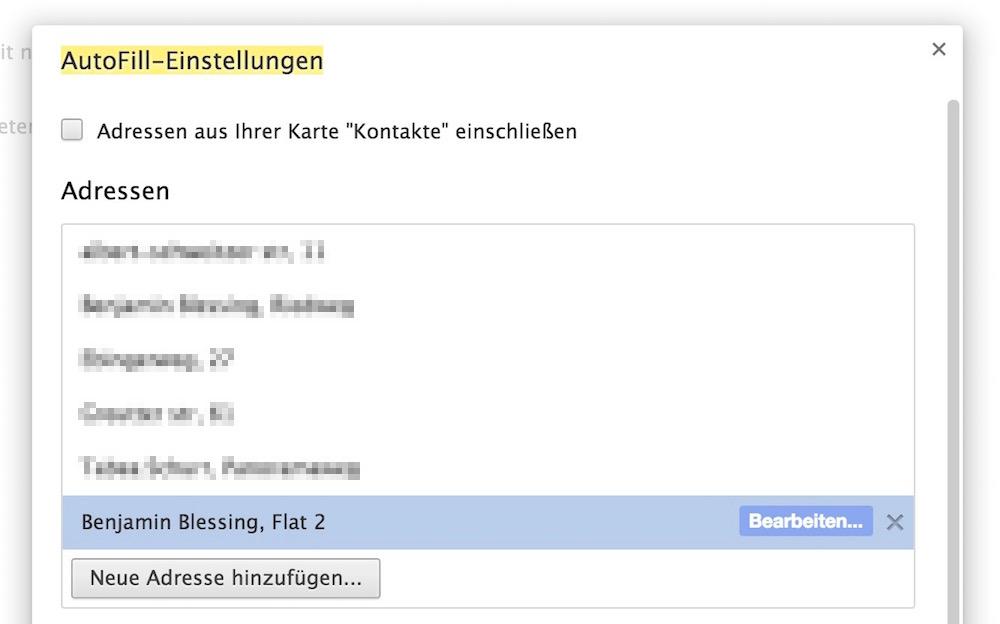 Google Chrome Auto-Vervollständigung