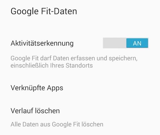 Alle Daten können gelöscht werden (Bild: Screenshot Google Fit App)
