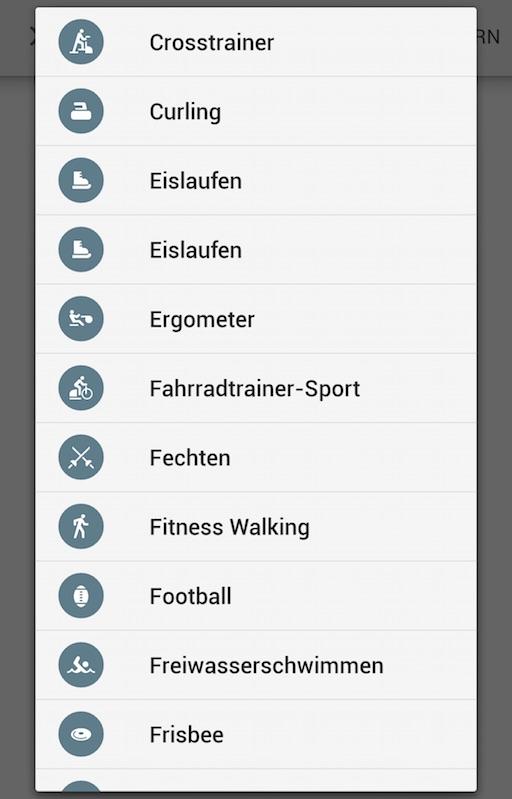 Weitere Aktivitäten können manuell erfasst werden (Bild: Google Fit App)