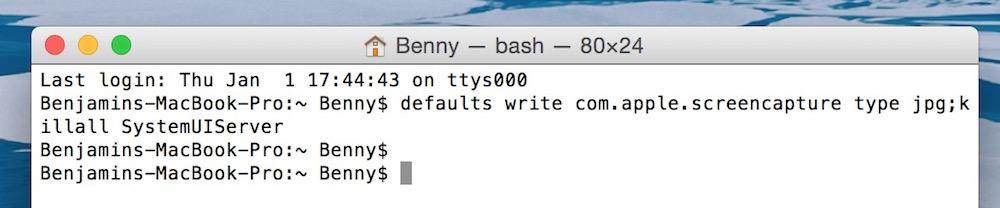 macOS Dateiformat für Screenshots ändern