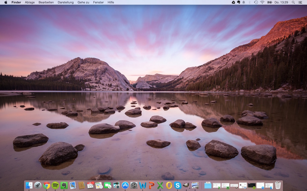 Desktop von OS X Yosemite (Bild: Screenshot).