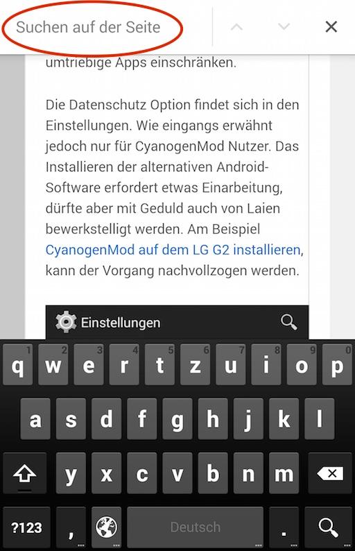 Webseiten mit Chrome für Android durchsuchen
