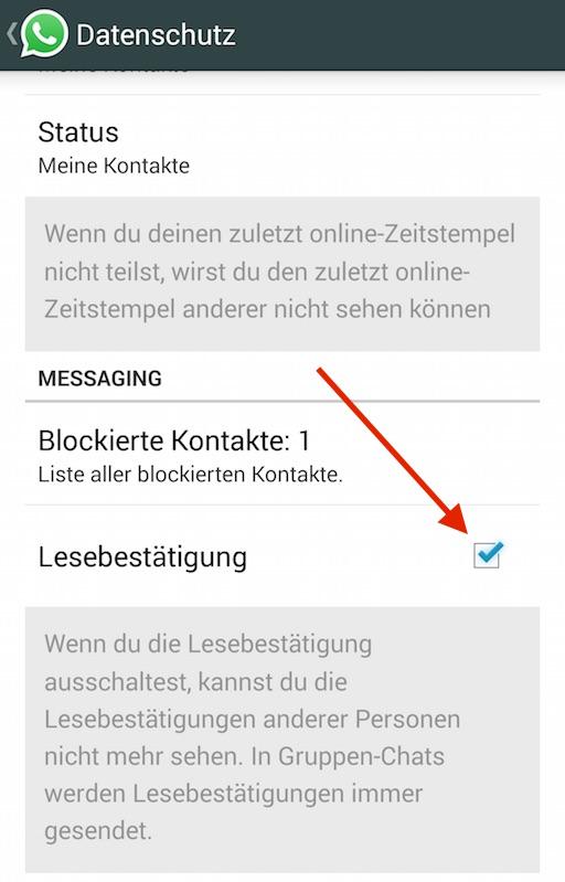 In den Datenschutzeinstellungen versteckt, findet sich die Option zur Lesebestätigung (Bild: WhatsApp App Screenshot).