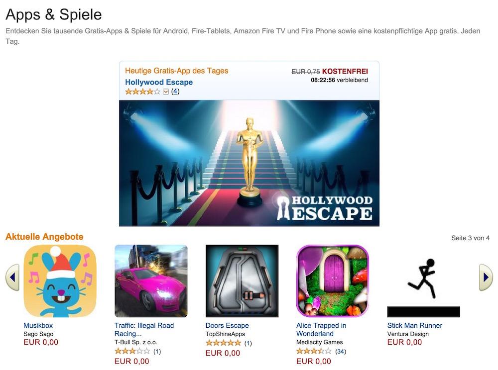 Der Amazon App-Shop für Android dürfte mit die bekannteste Alternative sein (Bild: Screenshot Amazon.de).