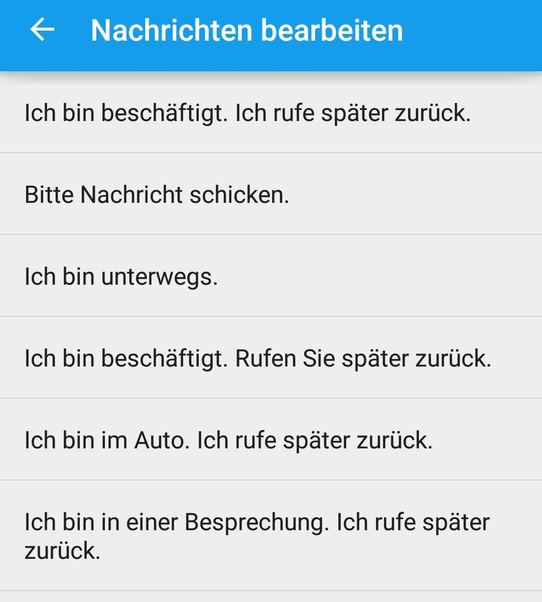Vorgegebene Nachrichten zum Ablehnen von Anrufen (Bild: Screenshot Android).