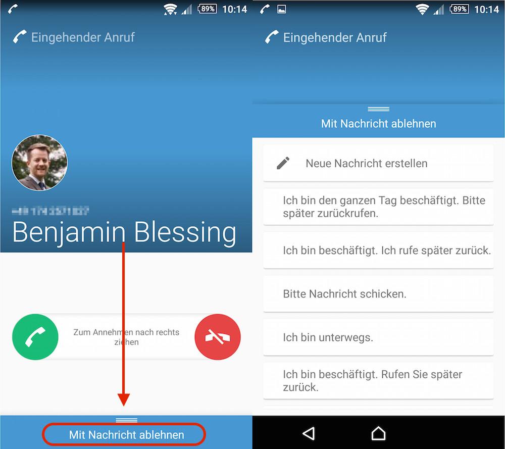 Anruf mit Nachricht unter Android ablehnen (Bild: Screenshot Android).