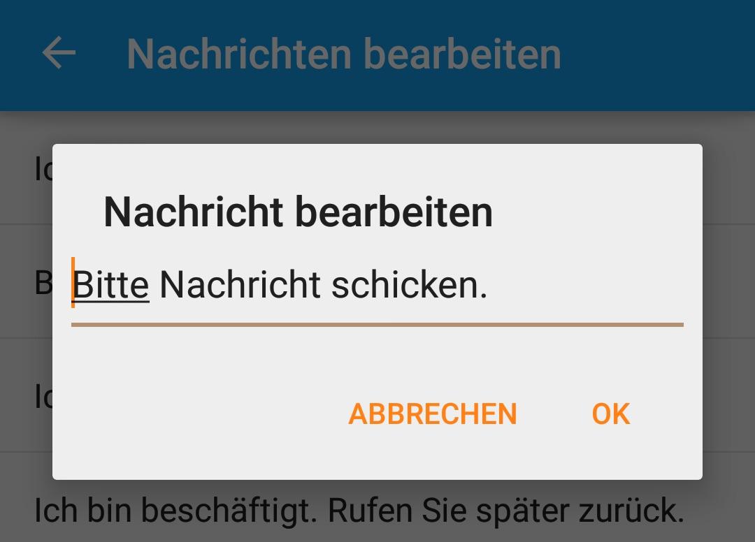 Nachricht anpassen (Bild: Screenshot Android).