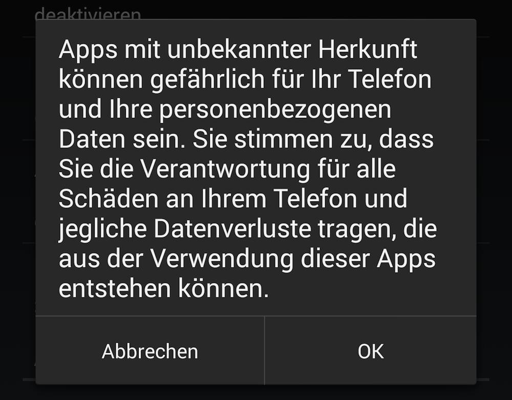 Der Warnhinweis ist berechtigt, da Google nur Apps im Google Play Store überprüfen kann (Bild: Android Screenshot).