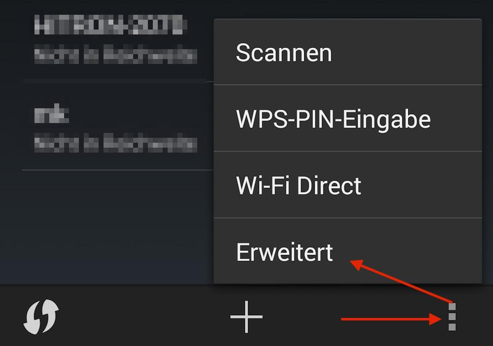 Die erweiterten WLAN Einstellungen unter Android ermöglichen zusätzliches Feintuning (Bild: Screenshot Android).