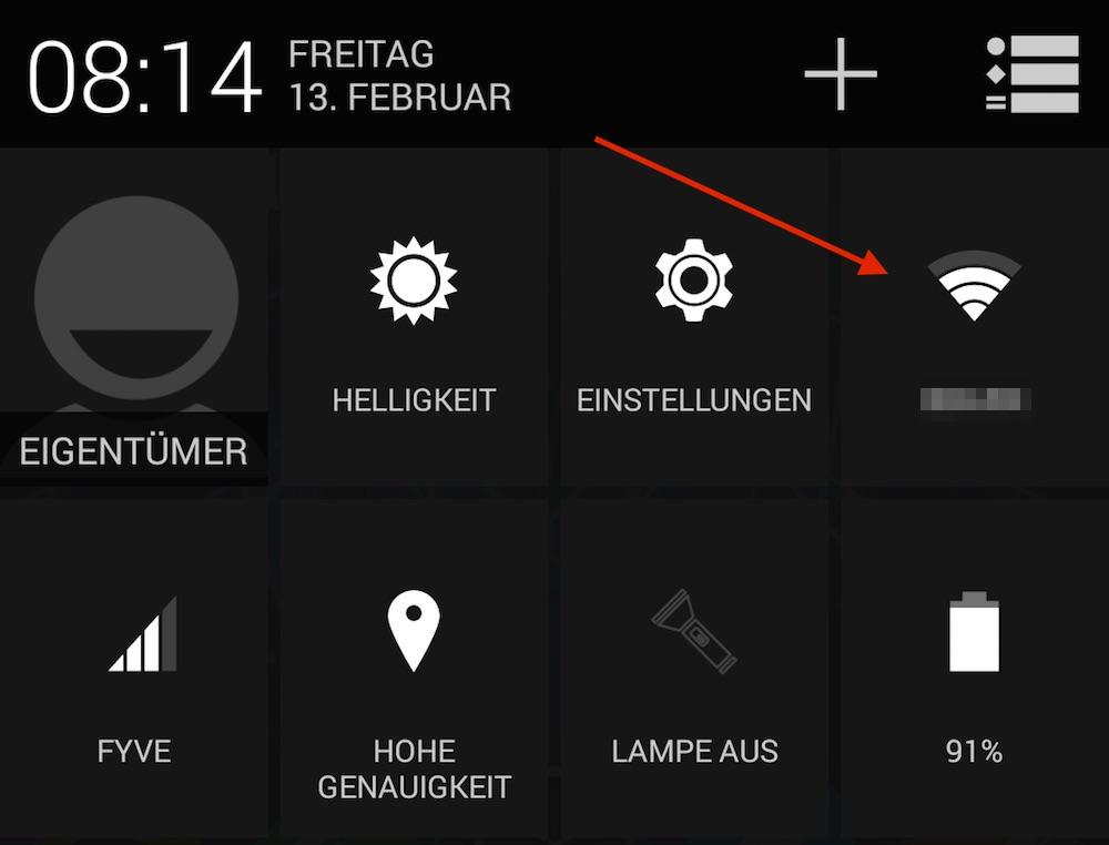 Erweiterte WLAN Einstellungen sind durch langes Drücken des WLAN Symbols unter Android aufrufbar (Bild: Screenshot Android).