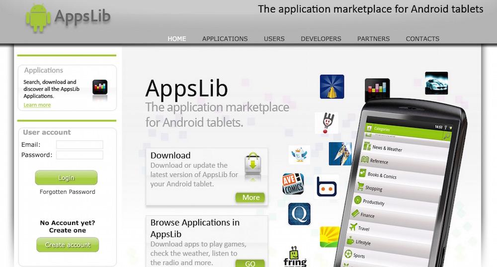 AppsLib App-Store fokussiert auf Android Tablets ohne Google Play Zertifizierung (Bild: Screenshot AppsLib).