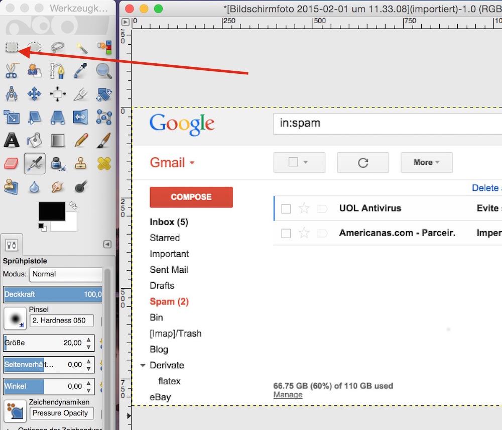 Auswahlwerkzeug in GIMP auswählen (Bild: Screenshot GIMP).