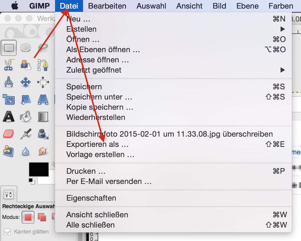 Bearbeitetes Bild unter GIMP als Bilddatei speichern (Bild: Screenshot GIMP).