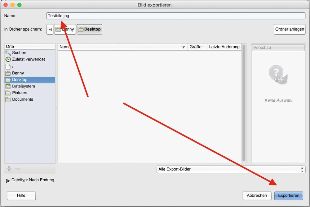 Speicherort und -name des Bildes wählen (Bild: Screenshort GIMP).