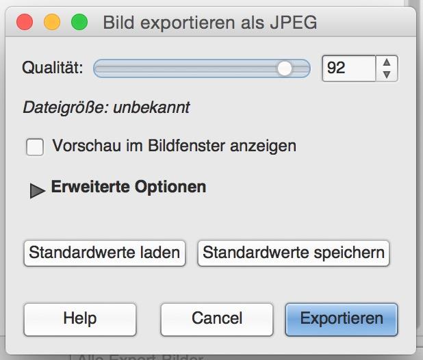 Weitere Optionen zur Datei stehen auf Wunsch zur Verfügung (Bild: Screenshot GIMP).