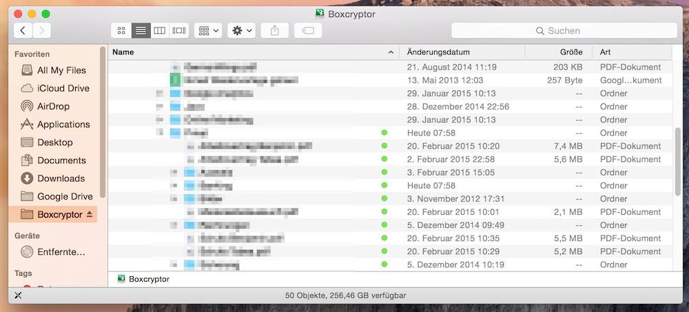 Boxcryptor zeigt innerhalb des Ordners an, welche Daten verschlüsselt sind und über die Software geöffnet werden können (Bild: Screenshot Benjamin Blessing).