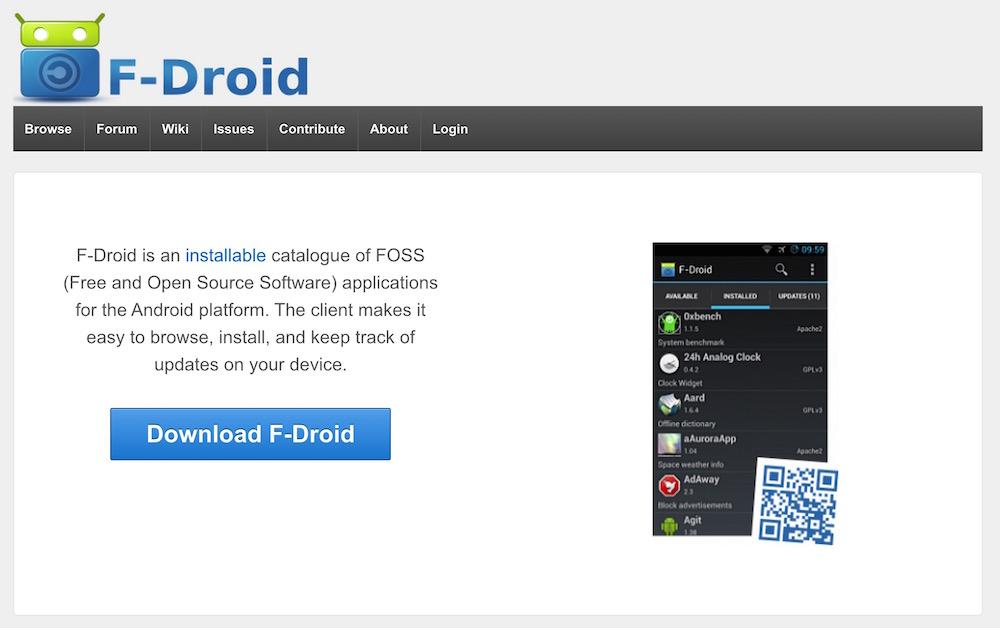 F-Droid hat sich auf kostenlose Open Source Android Apps spezialisiert (Bild: Screenshot F-Droid).