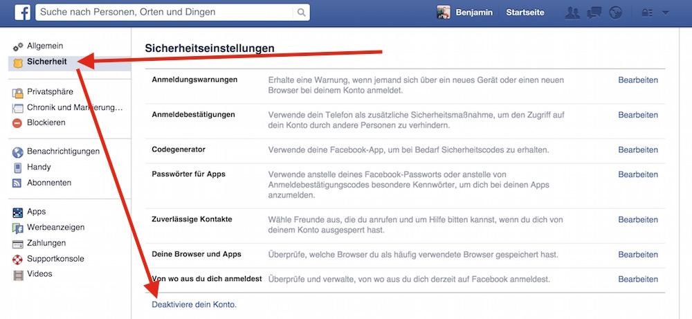 """Über die Facebook Sicherheitseinstellungen gelangt man zum Punkt """"Deaktiviere dein Konto"""" (Bild: Screenshot Facebook)."""