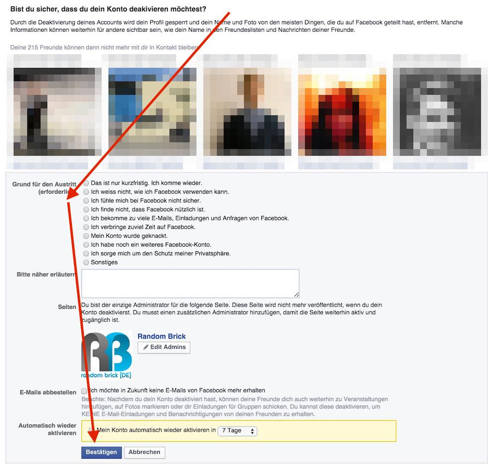 Facebook macht seinen Mitgliedern den Abschied so schwer wie möglich (Bild: Screenshot Facebook).