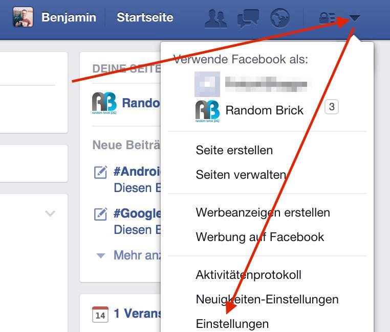 Facebook Einstellungen aufrufen (Bild: Screenshot Facebook).