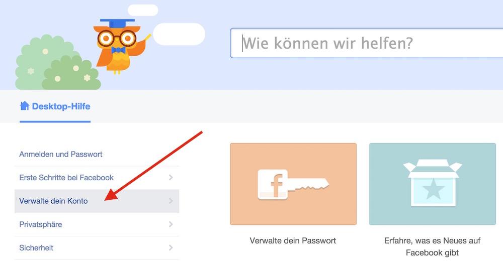 Im Hilfebereich gibt es die Option Verwalte dein Konto (Bild: Screenshot Facebook).