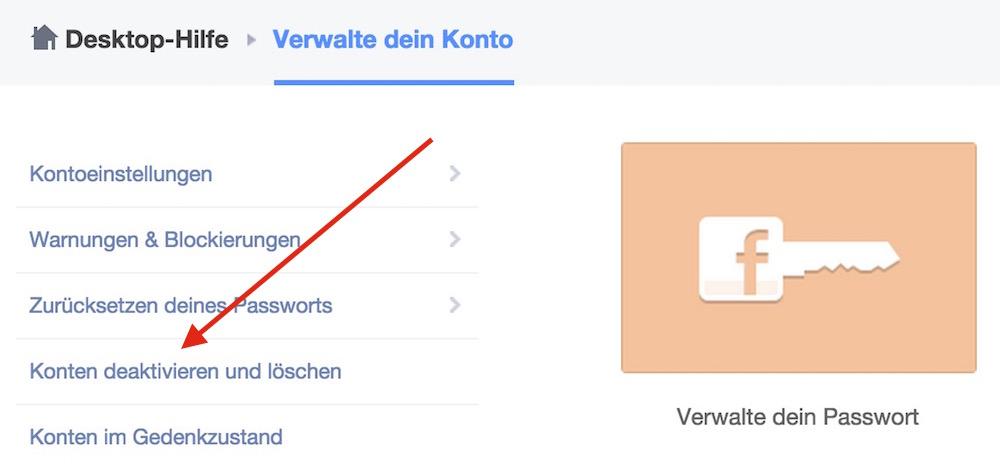 Die Option Konto deaktivieren und löschen führt den Benutzer in die Richtige Richtung (Bild: Screenshot Facebook).