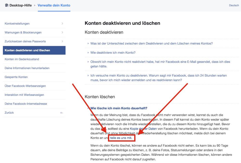 Hinter Menüs zum Aufklappen und zwischen viel Text der Link zum Löschen des Facebook Accounts (Bild: Screenshot Facebook).