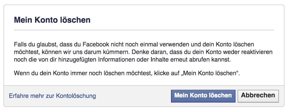 Wer es ernst meint, muss einen langen Weg gehen, bis das Facebook Konto gelöscht werden kann (Bild: Screenshot Facebook).