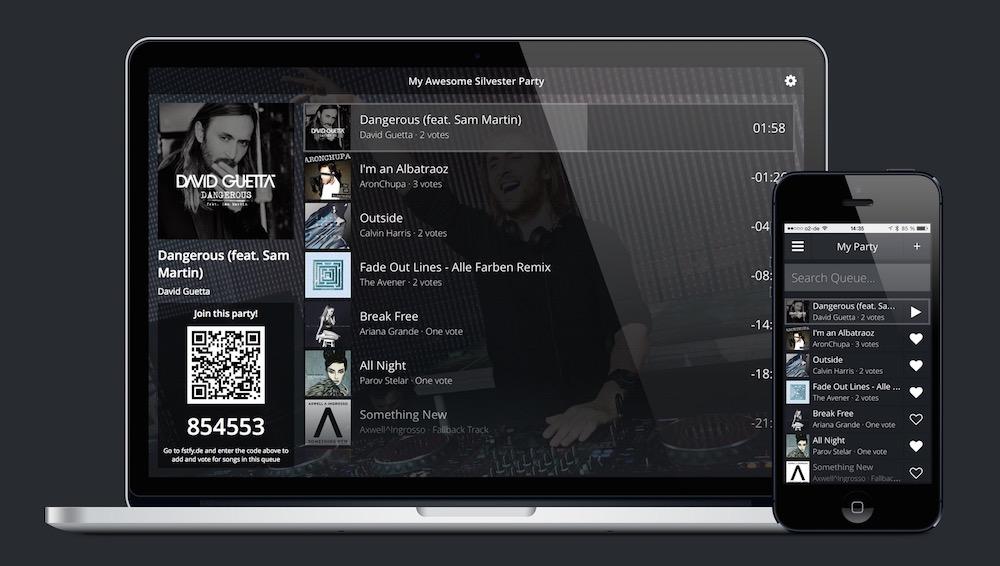 Festify erlaubt Gästen das Abstimmen über die zu spielende Musik (Bild: Screenshot getFestify.com).
