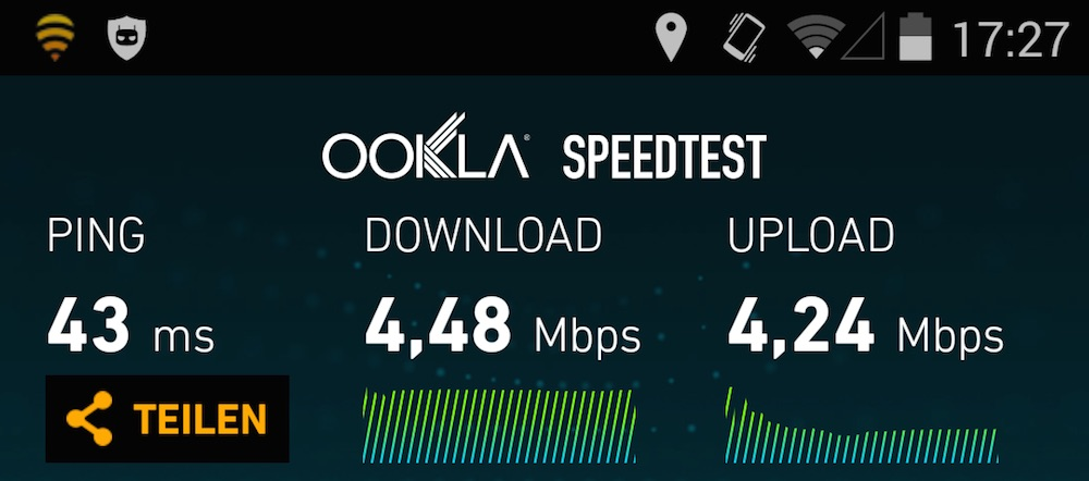Fon WLAN Speedtest (Bild: Screenshot).