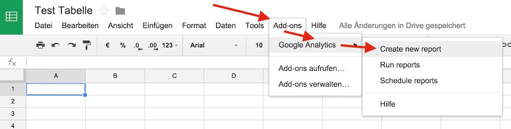 In Google Tabellen findet sich die Option Add-ons (Bild: Screenshot Google Tabellen).