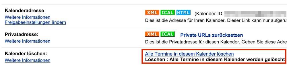 Alle Termine werden endgültig gelöscht (Bild: Screenshot Google Kalender).