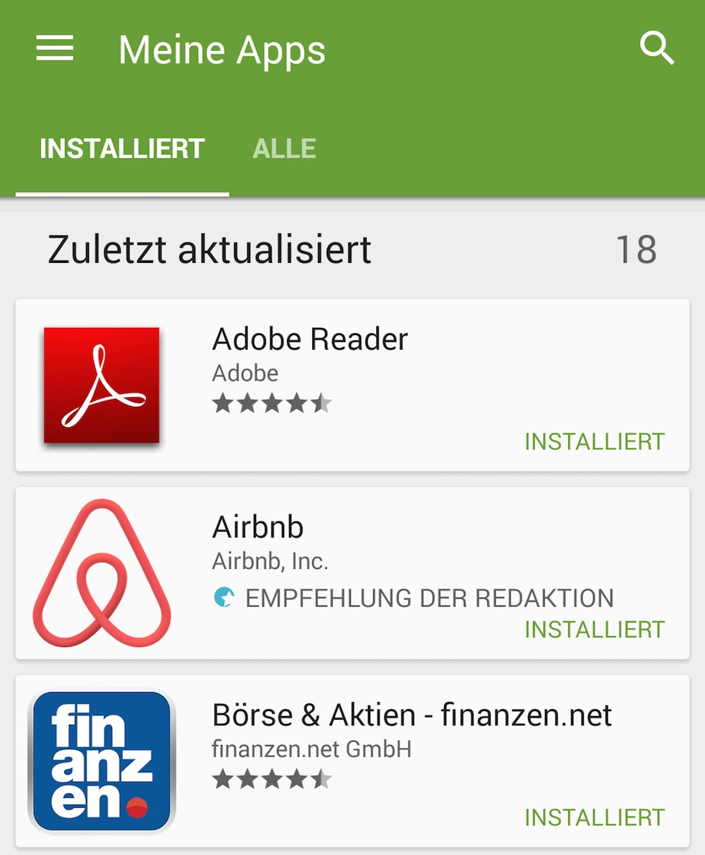 Über Meine Apps können Anwendungen direkt deinstalliert werden (Bild: Screenshot Android).