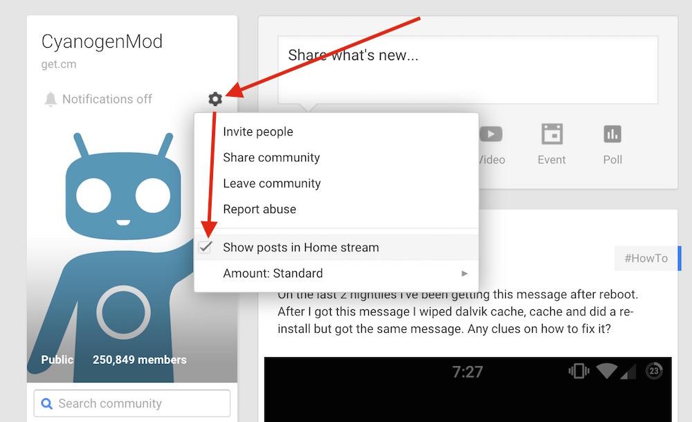 Ausblenden der Community Beiträge aus dem Google+ Stream (Bild: Screenshot Google+).