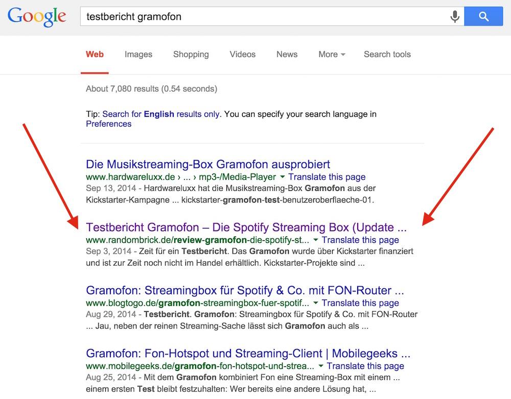 Auf Platz 2 in der Google Suche sorgt für Traffic (Bild: Screenshot Google.de).