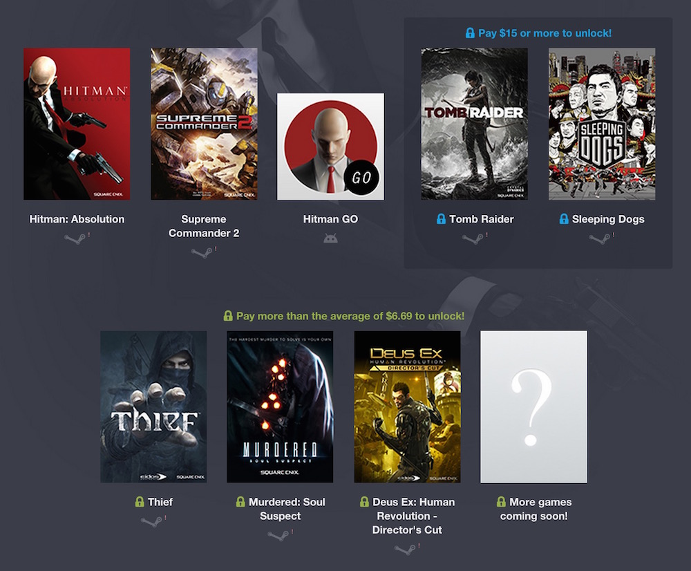 Im Humble Square Enix Bundle 2 geht es ab einem US Doller los (Bild: Screenshot Humble Bundle).