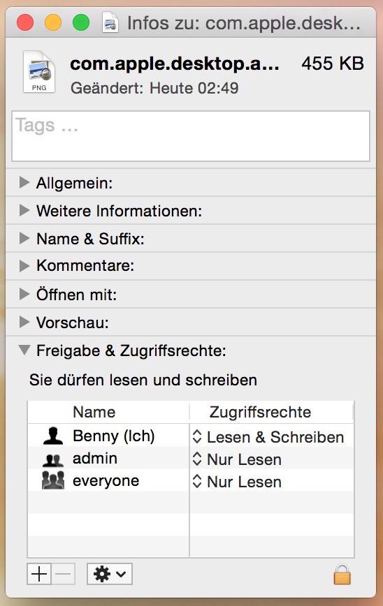 OS X Freigabe und Zugriffsrechte ändern (Bild: Screenshot OS X Yosemite).