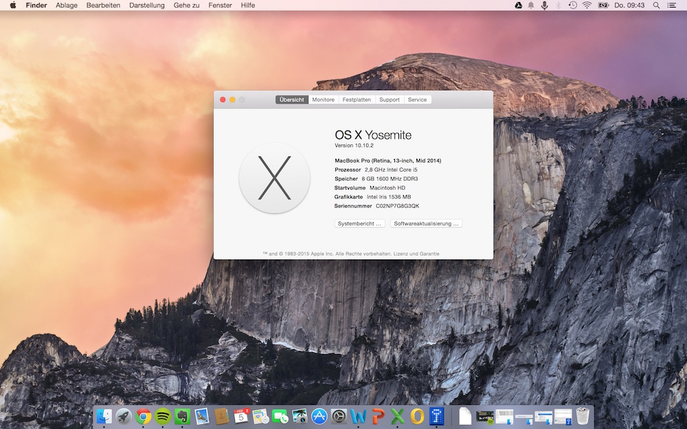 OS X Yosemite (Bild: OS X Screenshot).